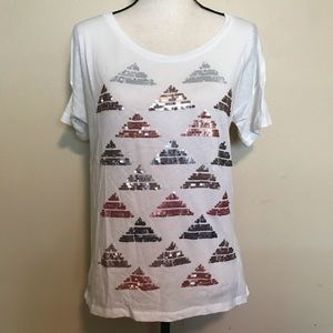 J. Crew Collector Tee Sequin Pyramid White T Shirt